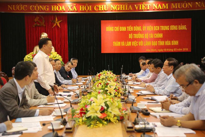 Bộ trưởng Bộ Tài chính thăm và làm việc với tỉnh ta
