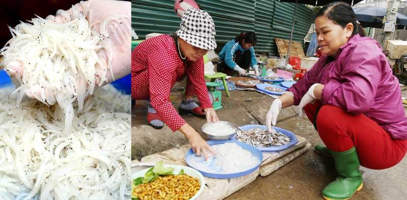 Cá ngần được bày bán tại chợ Nghĩa Phương (TP Hòa Bình).